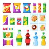 Försälja produkter Mellanmål, chiper, smörgås och drinkar för försäljaremaskinstång Kalla drycker och mellanmål i plast- packe stock illustrationer