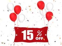 15% försäljning av baner Arkivfoton