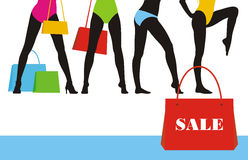 försäljning för 6 kläder vektor illustrationer