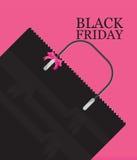 Försäljning för Black Friday shoppingpåse på rosa bakgrund stock illustrationer