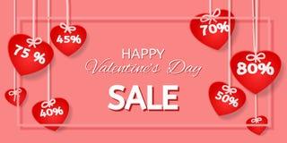 Försäljning för dag för valentin` s arkivbild