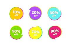 Försäljning 10, 20 för etikettsprisetikett, 30, 50, 70, 90 av ljust - grön rund beståndsdel för banerklistermärkedesign för annon royaltyfri illustrationer