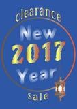 Försäljning för nytt år 2017 med en gammal lykta Arkivbilder