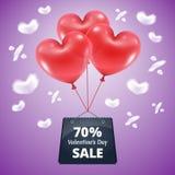 Försäljning 70 för tre röd ballonger Arkivbild