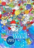 Försäljning för vektorillustrationvinter för websitebaner, affischer och kuponger Royaltyfri Bild