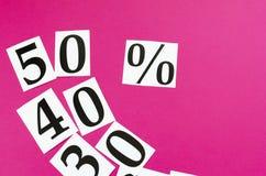 försäljning 50 nummer på rosa bakgrund Royaltyfri Bild