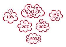 försäljning Text Sale i dekorativa beståndsdelar Royaltyfri Foto