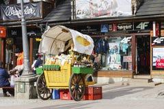 Försäljningar av Oscypek på den Krupowki gatan i Zakopane arkivfoton