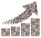 Försäljningar för pil för diagram för tillväxt för vinst för grupp människorframgångaffär arkivfoto