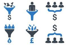 Försäljningar kanaliserar plana vektorsymboler vektor illustrationer