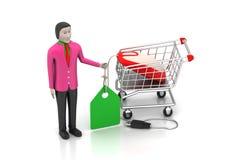 Försäljningar man med prislappen och shoppingspårvagnen Royaltyfria Bilder