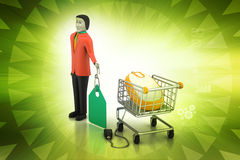 Försäljningar man med prislappen och shoppingspårvagnen Royaltyfri Fotografi