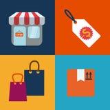Försäljningar och detaljhandel stock illustrationer