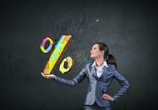 Försäljningar och procentsats Arkivfoton