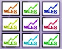 Försäljningar på bildskärmar som visar sälja förhöjning royaltyfri illustrationer