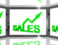 Försäljningar på skärmen som visar monetära vinster stock illustrationer