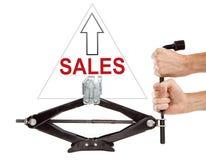 Försäljningar upp med skruvstålar Royaltyfria Foton
