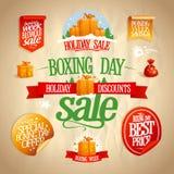 Försäljningen för boxningdagen undertecknar, designer, baner, klistermärkear och kuponger Arkivbilder