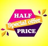Försäljningen för det halva priset - smsa i rosa färger och lilor dragen etikett stock illustrationer