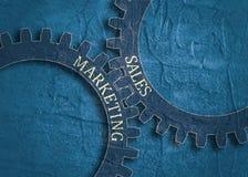 Försäljnings- och marknadsföringstext på kugghjulen Arkivfoto