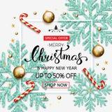 Försäljningsbaner för glad jul med glänsande blåa snöflingor, guld b Arkivfoto