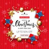 Försäljningsbaner för glad jul med stjärnor och bub för gåvaaskar guld- Arkivfoto