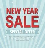 Försäljningsbaner för nytt år som isoleras på blå bakgrund Spesial erbjudande vektor illustrationer