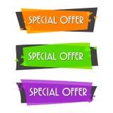 Försäljningsbaner för specialt erbjudande för din design, festival för rabattrensningshändelse, illustration Arkivfoto