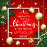 Försäljningsbanret för glad jul med sörjer dekorerade filialer, guld s royaltyfri foto