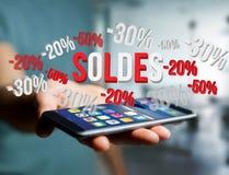 Försäljningsbefordran 20% 30% och 50% som flyger över en manöverenhet - Shopp Arkivfoton