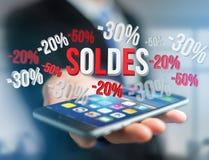Försäljningsbefordran 20% 30% och 50% som flyger över en manöverenhet - Shopp Arkivfoto