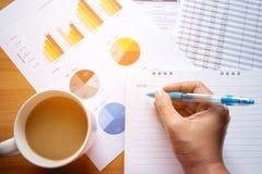 Försäljningschefer som arbetar den moderna studion Diagram för rapport för marknad för kvinnavisninghand Marknadsföringsavdelning royaltyfri foto