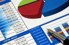 Försäljningsdiagram Fotografering för Bildbyråer