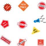 Försäljningserbjudandekort vektor illustrationer