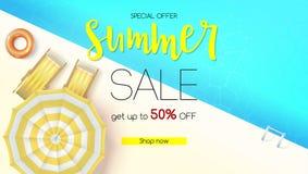 Försäljningshandling, sommarerbjudande Få upp till femtio procent rabatt Bästa sikt av pölen för blått vatten med deckchairs, sol stock illustrationer