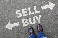 Försäljningsköpet som säljer köpandegods som handlar börsbankrörelsen, bussar Arkivfoto