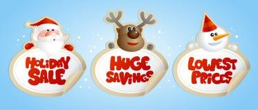 Försäljningsklistermärkear för nytt år med jultomten, hjortar och snögubben vektor illustrationer