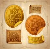 Försäljningsklistermärkear och band in för sommar det ställer bästa exklusiva nya säsongsbetonade, och sommarerbjudandet, special Arkivbild