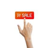 Försäljningsknapp med den verkliga handen Royaltyfria Foton