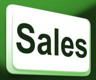 Försäljningsknappen visar befordringar och handlar royaltyfri illustrationer