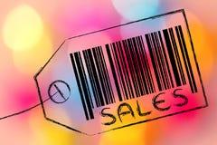 Försäljningskodstång på produktprislapp Arkivfoto