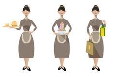 Försäljningskvinnan från bakelse shoppar vektor illustrationer