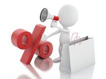 försäljningsmeddelande för man 3d med megafonen och shoppingpåsen stock illustrationer