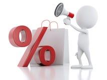 försäljningsmeddelande för vit man 3d med megafonen, shoppingpåse och Royaltyfri Foto