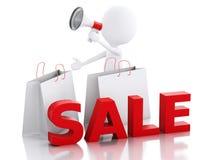 försäljningsmeddelande för vitt folk 3d med megafon- och shoppinglodisar Royaltyfria Foton