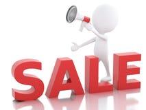 försäljningsmeddelande för vitt folk 3d med megafonen Fotografering för Bildbyråer