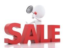 försäljningsmeddelande för vitt folk 3d med megafonen Arkivbild