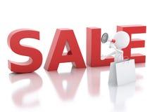 försäljningsmeddelande för vitt folk 3d med megafonen royaltyfri illustrationer