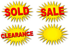 försäljningsstarbursts vektor illustrationer