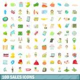 100 försäljningssymboler uppsättning, tecknad filmstil Arkivbilder